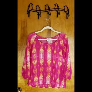 Ariat Pink & Yellow Psychedelic 3/4 Sleeve Blouse